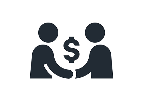 An icon of two people closing the deal with a handshake. The icon shows a dollar sign between them as they shake hands, symbolizing a business deal.
